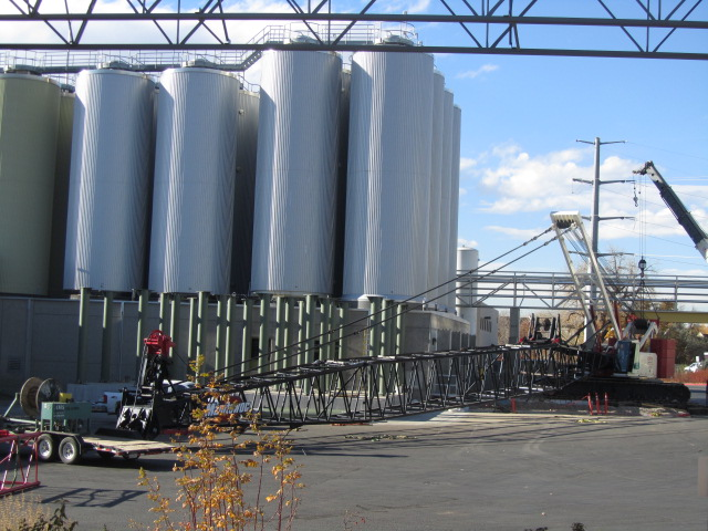 Large crane being assembled at New Belgium brewery