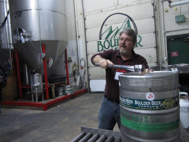 Boulder Beer Company marketing tool Dan Weitz gives a tour of the brewery