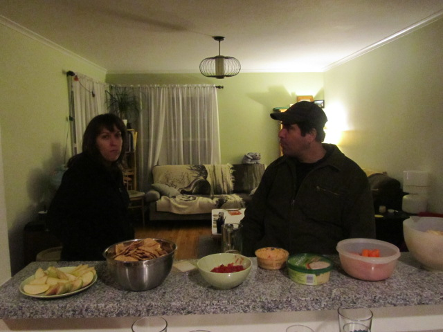 Margaret and Peter Vaughn Shaver enjoy some party snacks
