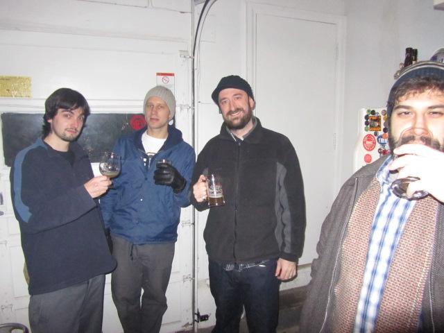 (Left to right) Brewpublic contributor Curtis Barnard, Saraveza's Ryan Pederson, Brewpublic co-founder Aaron Miles, and Brewpublic contributor and artist Matthew DiTullo