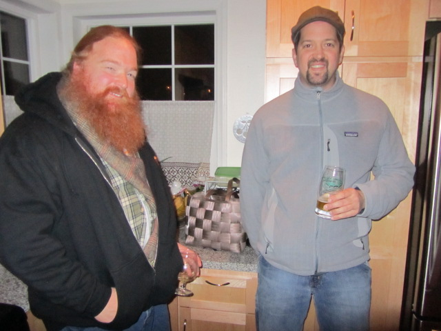 Omnipresent Charles Culp and Mt. Tabor Brewing's Eric Surface shared some great beers. Charles opened a bottle of 2007 Goose Island Christmas, and Eric setup a keg of Mt. Tabor's amber ale in our kegerator and brought a growler of the Sibeerian Bull Imp Stout