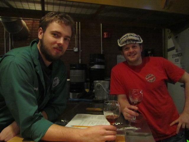 Boston Beer Works brewers Zandy Zeiser (left) and Jack Hendler