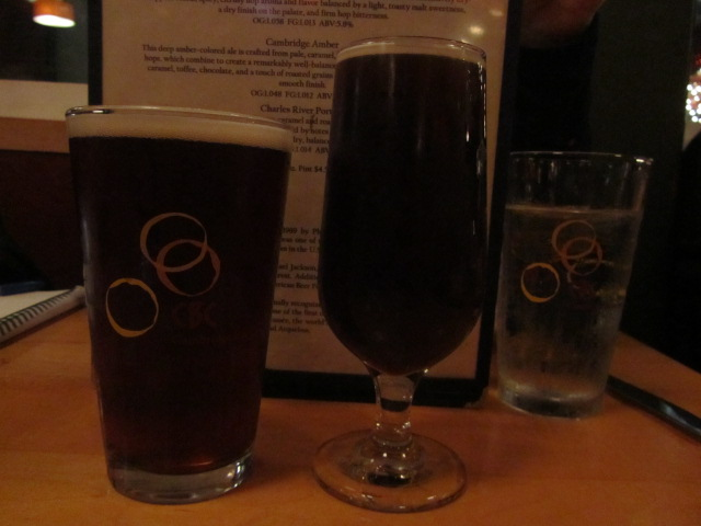 Cambridge Brewing Co. Amber Ale (left) and Cerise Casee Barrel-fermented Sour Wild Ale