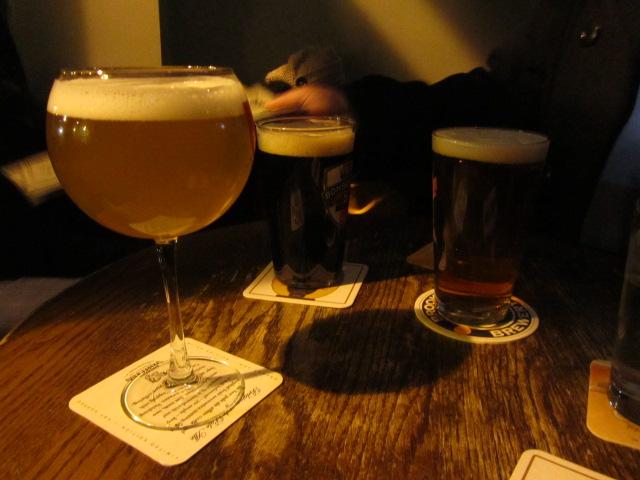At Deep Ellum: (left to right) Pretty Things Jack D'Or Saison Americain, Ridgeway Bad John English Black Ale, Green Flash West Coast IPA