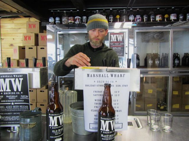 Marshall Wharf bartender and cook Ben Lamson in the tasting room
