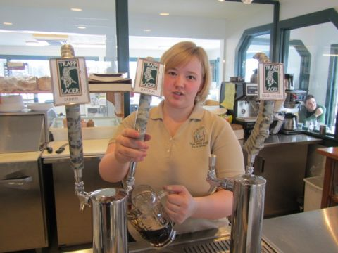 Amy of the Trapp Family Lodge pours a mug of lager beer