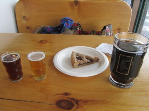 Raspberry and currant Linzertorte pie with dunkel, helles, and Trostenbier at the Trapp