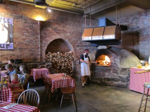 Wood fired pizza oven at American Flatbread Hearth in Burlington, VT