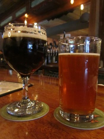 Necronaut Cascadian Dark Ale and Smokey the Beer Lager at American Flatbread