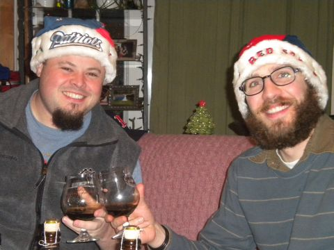 Sean and Angelo toast to the holidays and kickass New England sport teams