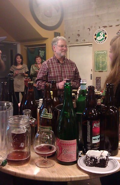 Terry MacDonald celebrates his birthday at a Beer Advocate tasting at The BeerMongers