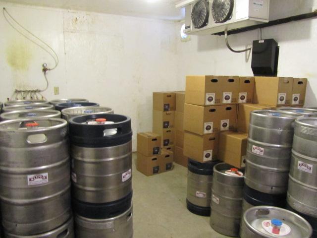 Keg cooler at Oak Pond Brewery