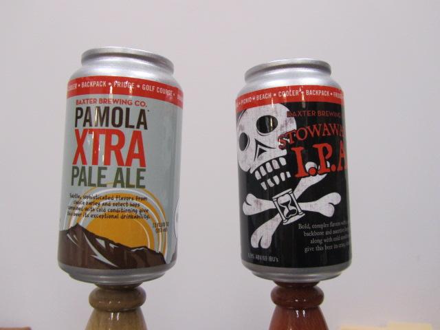 Baxter Pamola Xtra Pale Alen and Stowaway IPA tap handles