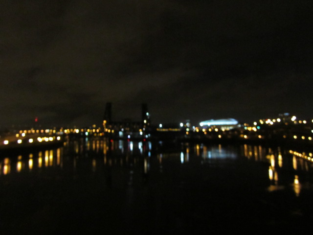 Portland at night from the Burnside Bridge