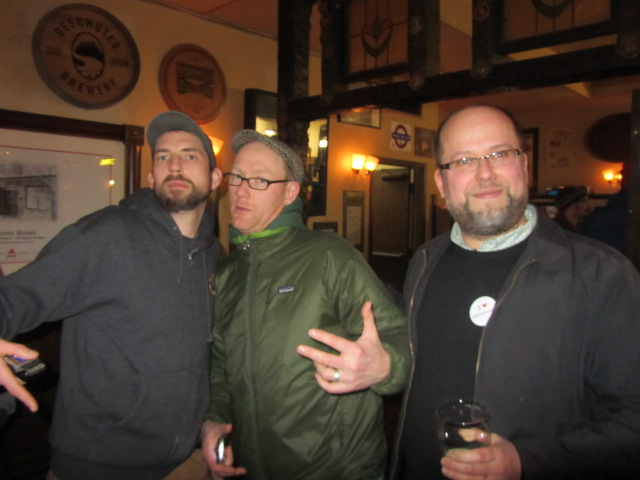 (right to left) Lucky Lab's Ben Flerchinger, Van Havig, and Oregon Brewers Guild's Brian Butenschoen