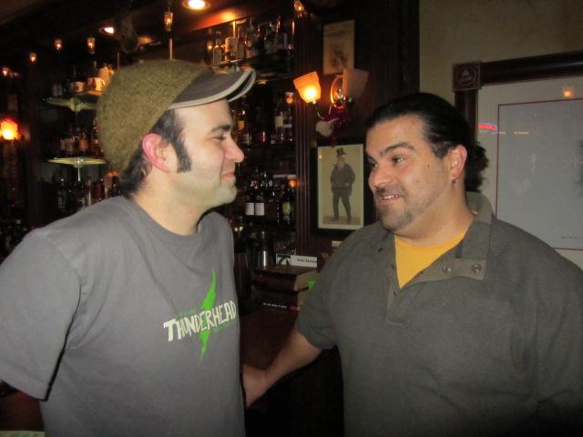 Pyramid/MacTarnahan's brewer Vasilios Gletsos (left) and Hopworks brewer Jaime Rodriguez at 2011 PCTBB dart throw