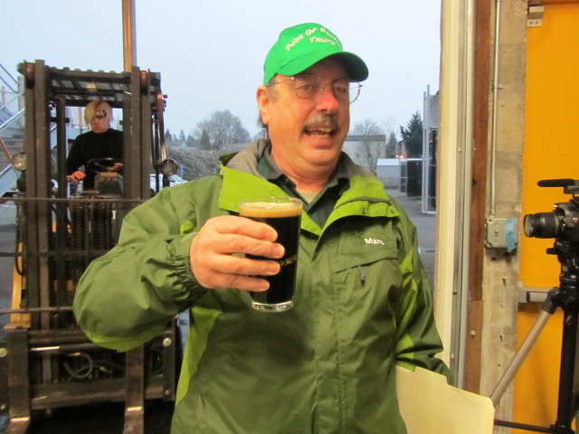 Marc Martin of Pubs of Portland Tours experiencing HUB Secession Ale at the source