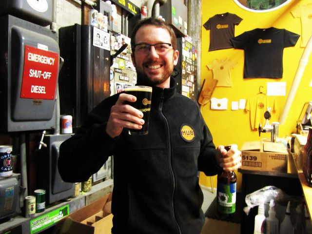 Hopworks' Christian Ettinger raises a pint of Secession Cascadian Dark Ale