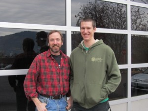 Double Mountain Brewmaster Matt Swihart (left) and brewer Kyle Larsen