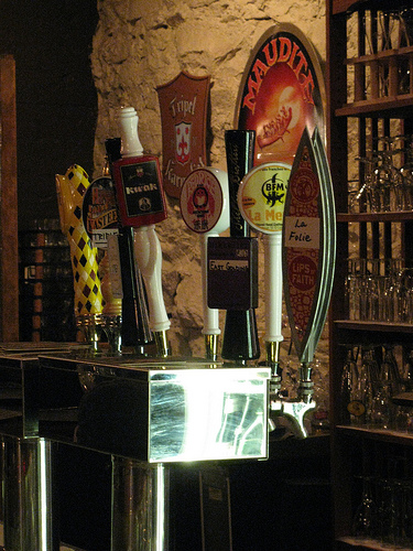 Tap handles at Thirsty Monk in Asheville, NC