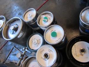 kegs of barleywine and big beer at Lucky Lab