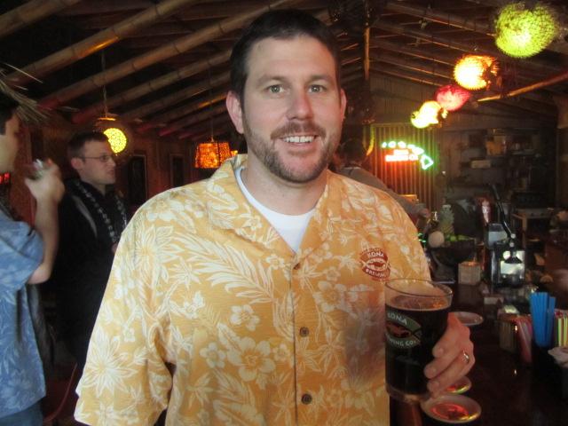 Kona Brewing brand manager Steve Krajczynski with a pint of Koko Brown