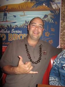 Kona President Mattson Davis hangin' ten at Thatch Tiki Bar