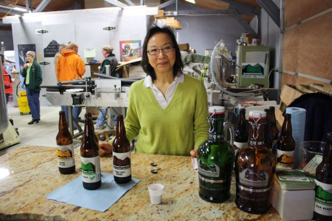 Sheri Gorgas offered samples of beer for zwicklers at Fire Mountain Brew House