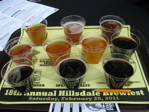 Sampler tray at McMenamins 18th Annual Hillsdale Brewfest