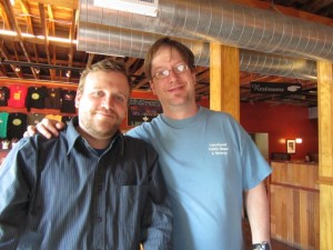 Laurelwood's Micah Bell (left) and brewer Chad Kennedy