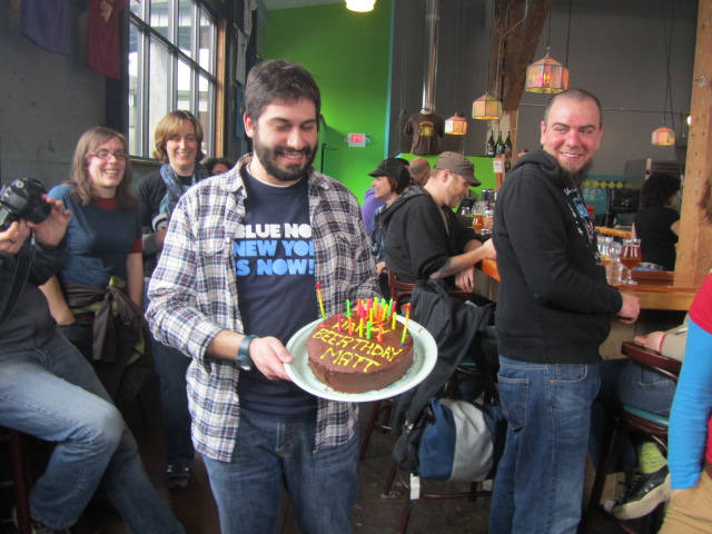 Matthew DiTullo celebrates his birthday with friends at Hair of the Dog