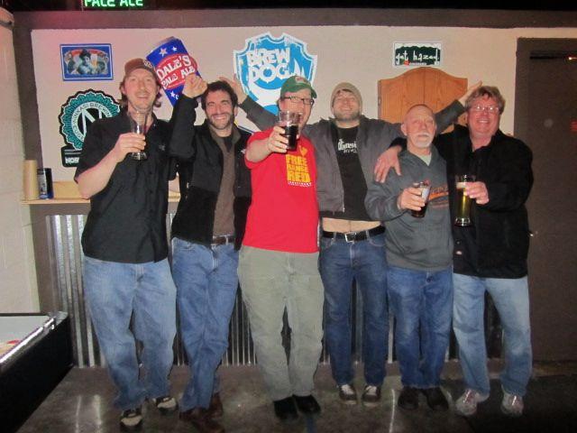 Oregon brewers (l to r): Dustin Kellner (Laurelwood), Chris Spollen (Amnesia), Chad Kennedy (Laurelwood), Sean Thommen (Amnesia), Scott Gerlach (former Blitz brewer), and Ross Litton (Walkabout).