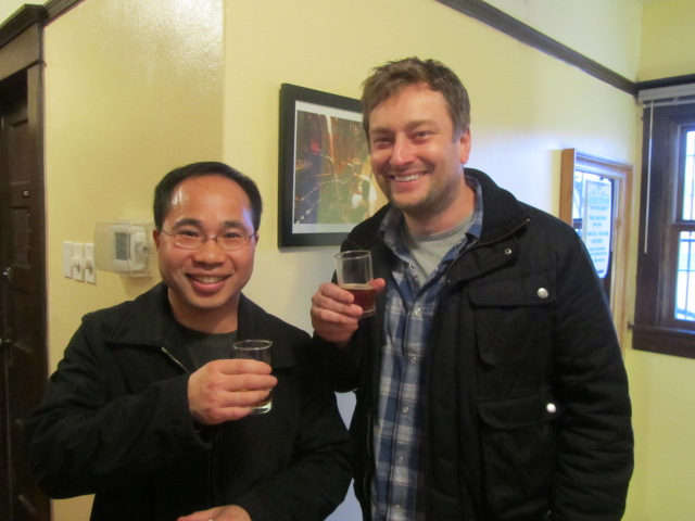 Roscoe's owners Quyen Li (left) and Jeremy Lewis sampling some Imperial Workhorse at Laurelwood