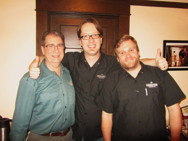 Laurelwood founder Mike De Kalb (left), Brewmaster Chad Kennedy (center), and brand manager Micah Bell
