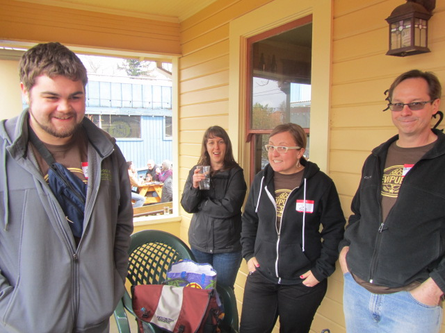 2nd Annual Division St BrewPubliCrawl crew: (l to r) Tom Fischer, Margaret Lut, Tyffany DeGray, and Bill Night