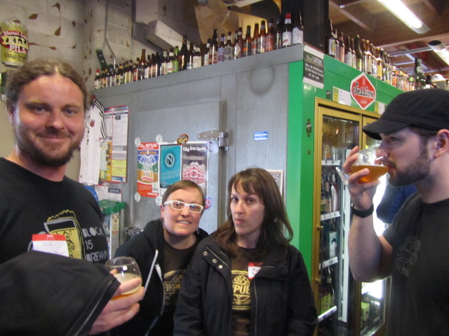 2nd Annual Division St BrewPubliCrawl at The BeerMongers (l to r) Block 15 founding brewer Nick Arzner, Tyffany DeGray, Margaret Lut, and Block 15 cellarman Erik Salmi