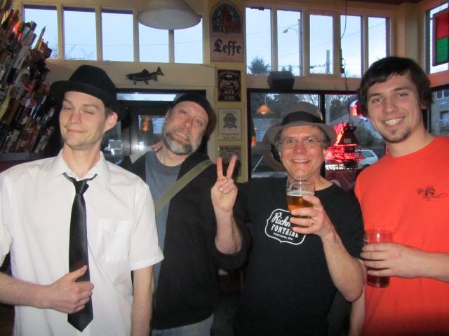 Belmont Station's 14th Anniversary Party! (l to r) Astoria Brewing's John Dalgren, Union Local 180's Ted Sobel, Belmont Station's Carl Singmaster, and Flat Tail's Dave Marliave
