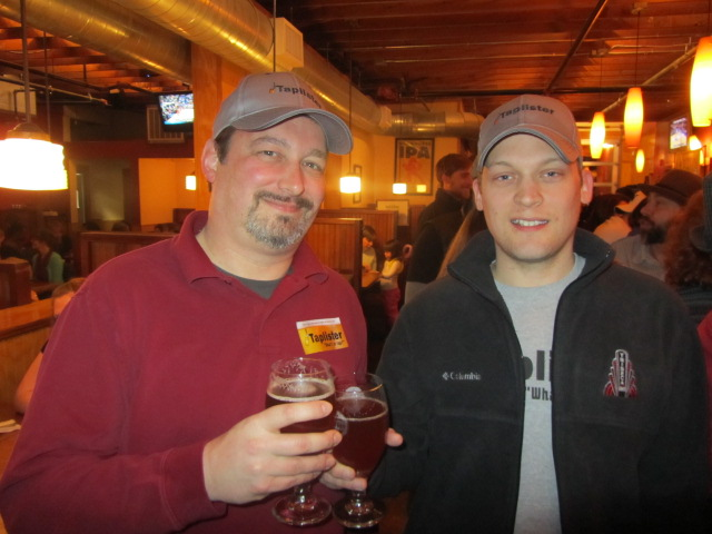 Taplister's Ken Baer (left) and Kerry Finsand at Laurelwood's 10th Anniversary Party