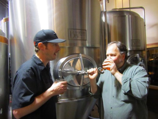Laurelwood's Dustin Kellner and Double Mountain's Charlie Devereux in the brewhouse