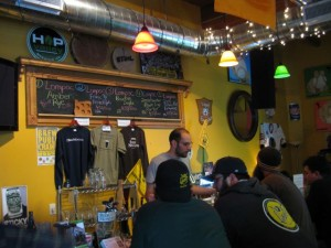 Lompoc Brewers at The BeerMongers with bartender Josh Grgas (photo by Dan Culver)