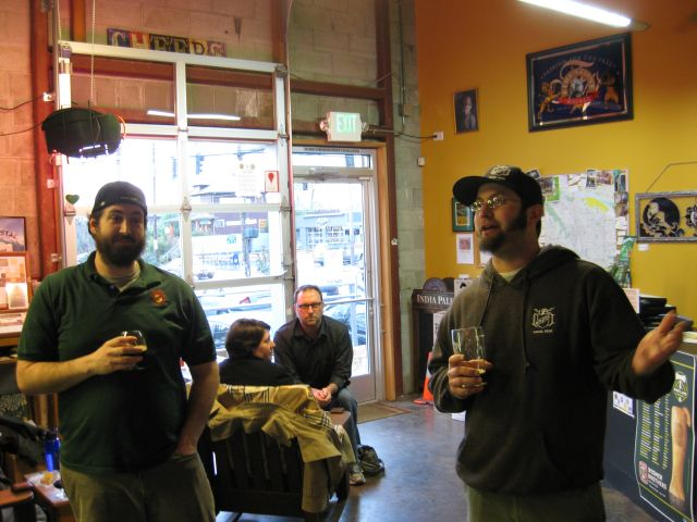 Lompoc brewers Zach Beckwith (left) and Bryan Keilty at The BeerMongers (photo by Dan Culver)