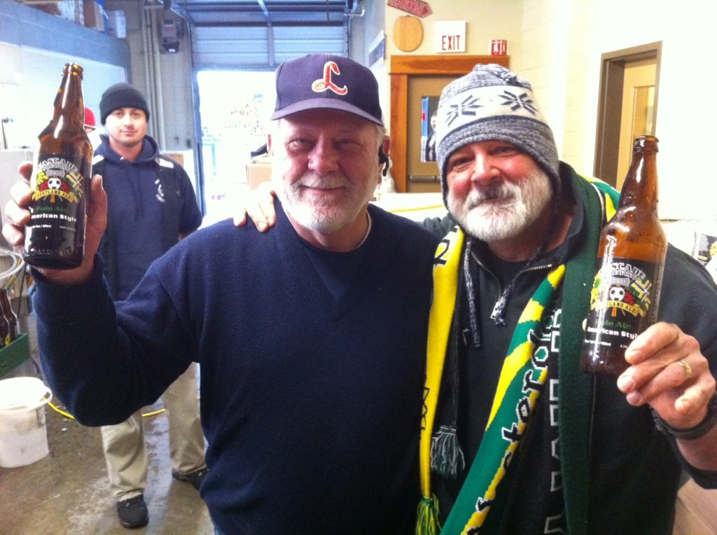 Cascade Owner Art Larrance (left) with Timber Jim. Cascade brewer Chris Baggenstos in the background