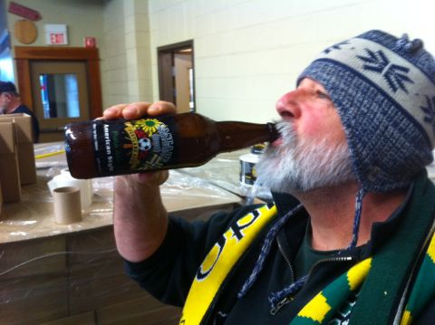 Timber Jim tastes freshly bottled Portland Ale