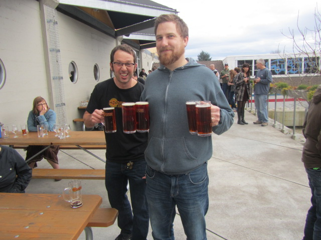 Hopworks big dogs Christian Ettinger (left) and Ben Love on HUB's 3rd anniversary party