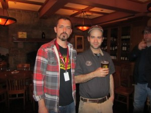 Hopworks brewer Tom Bleigh (left) and Laurelwood brewer Vasilios Gletsos