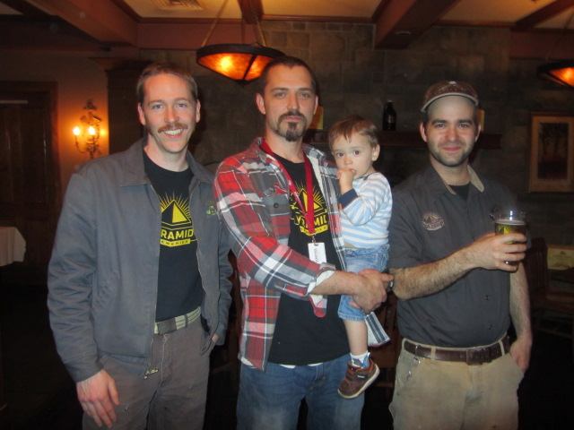 Pyramid/MacTarnahans crew L to R: Ryan Pappe, Thomas Bleigh with his son Oliver, and Vasilios Gletsos