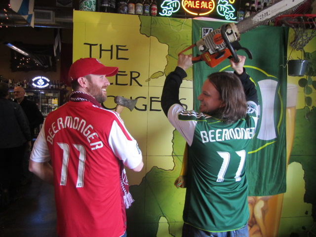 Brewpublican Dan Culver (left) and BeerMonger co-founder Sean Campbell get in the mood for some Timbers action
