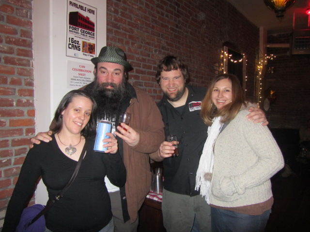 Fort George night at Saraveza L to R: Amy Welch, Chris Ensign, Tim Ensign, and Jana-Daisy Ensign