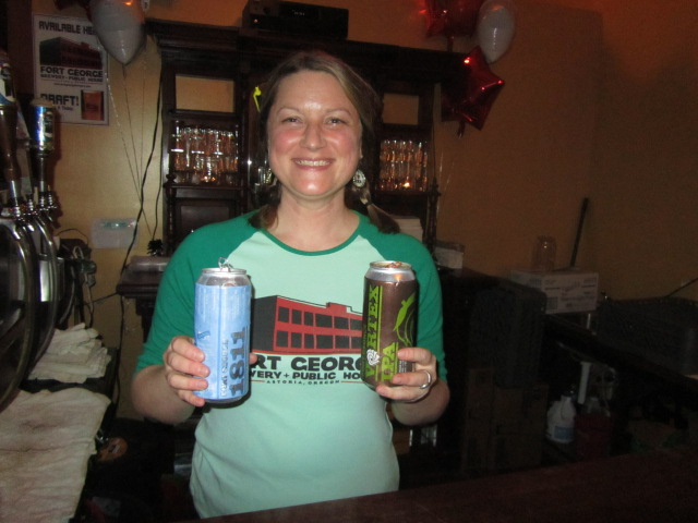 Saraveza's Erika Huston with new Fort George 1811 Lager and Vortex IPA cans