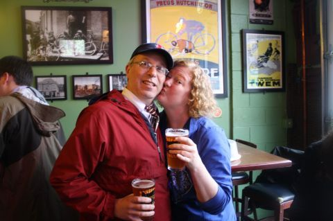 """Lisa """"The Beer Goddess"""" Morrison and her hubby Mark were at APEX to share in the beerthday hoppiness"""